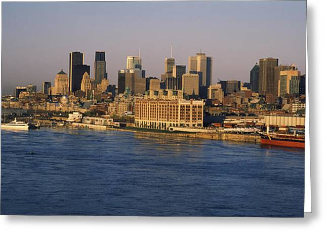 Harbor With The City Skyline, Montreal Greeting Card