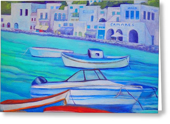 Harborfront Mykonos Greeting Card