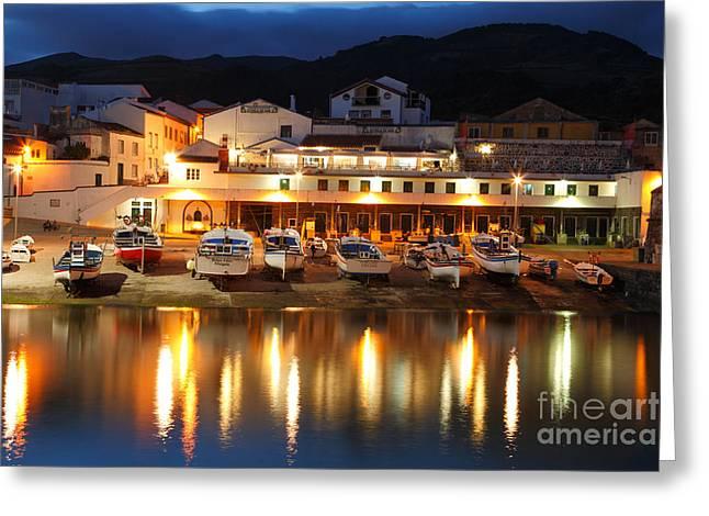 Harbour At Twilight Greeting Card by Gaspar Avila