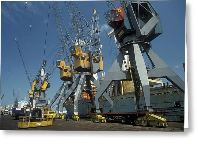 Harbour Cranes Greeting Card by Jim West