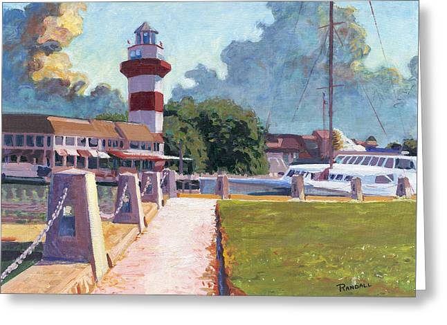 Harbour Town Light Greeting Card by David Randall