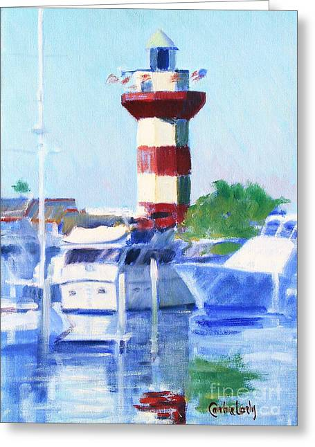 Harbour Town Lighthouse Greeting Card by Candace Lovely
