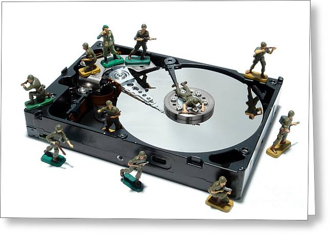 Hard Drive Defense  Greeting Card by Olivier Le Queinec