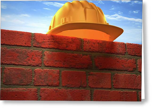 Hard Hat On A Brick Wall Greeting Card by Ktsdesign