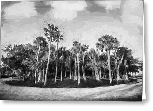 Hard Right On Loop Road Painted Bw Greeting Card