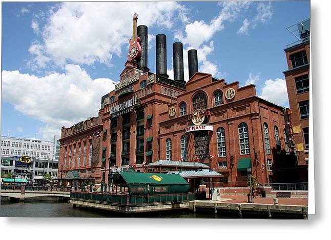 Hard Rock Cafe Baltimore Inner Harbor Greeting Card by Christiane Schulze Art And Photography
