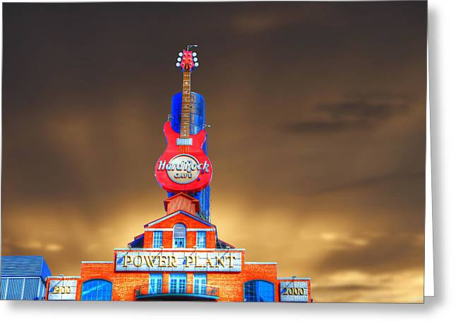 Hard Rock Cafe Greeting Card by David Simons