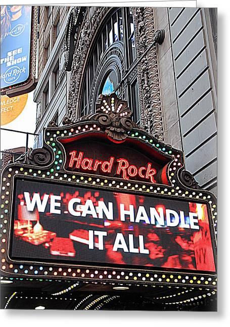 Hard Rock Cafe New York Greeting Card by Valentino Visentini
