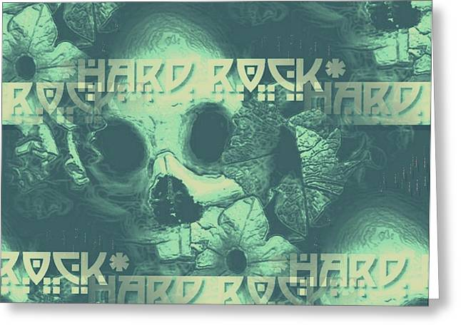 Hard Rock Skulls Greeting Card by Pepita Selles