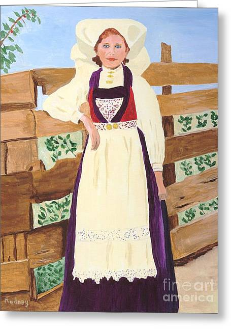 Greeting Card featuring the painting Hardanger Girl by Rodney Campbell