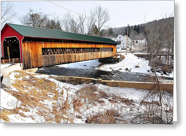 Hardwick Covered Bridge  Greeting Card by Catherine Reusch  Daley