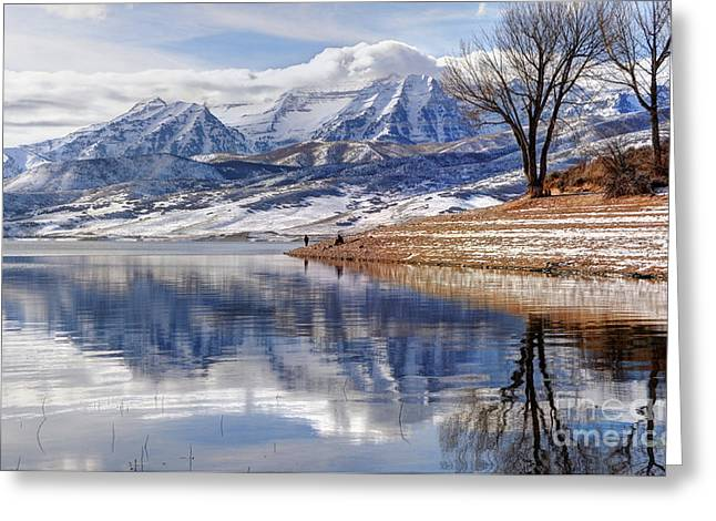 Hardy Fishermen Deer Creek Reservoir And Timpanogos In Winter Greeting Card by Gary Whitton