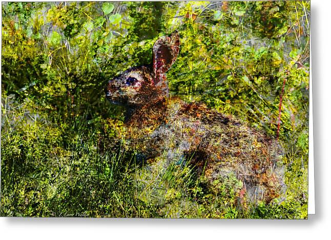 Greeting Card featuring the digital art Hare In Hiding by J Larry Walker