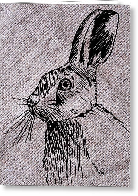 Hare On Burlap Greeting Card