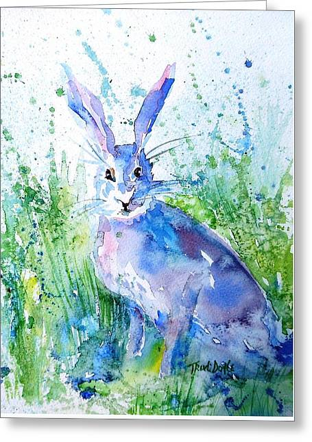 Hare Stare Greeting Card by Trudi Doyle
