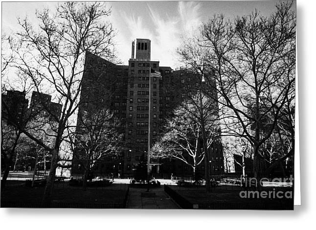 Harlem Brownstone High Rise Apartment Blocks Projects Post World War 2 New York City Greeting Card
