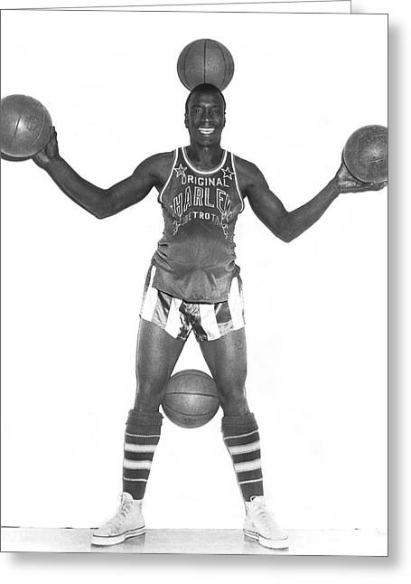 Harlem Globetrotters Player Greeting Card by Underwood Archives