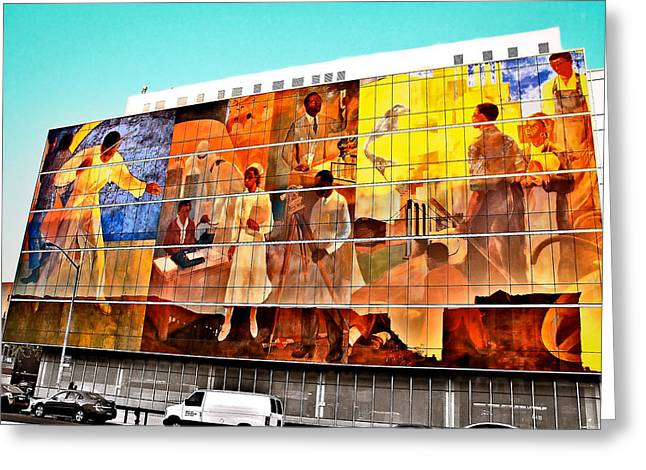 Harlem Hospital Mural Greeting Card by Terry Wallace