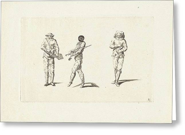 Harlequin And Two Jesters Making Music, Anonymous Greeting Card by Anonymous And Gerardus Josephus Xavery And Pieter Schenk (i)