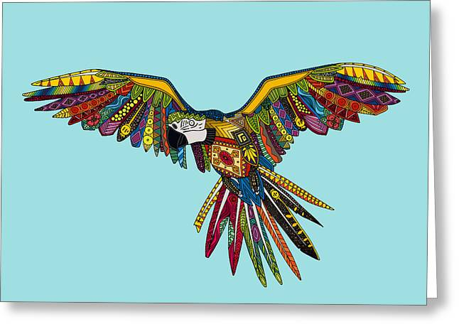 Harlequin Parrot Greeting Card by Sharon Turner