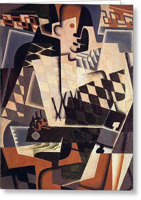 Harlequin With A Guitar, 1917 Greeting Card
