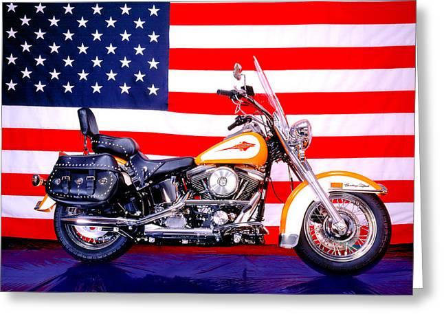 Harley And Us Flag Greeting Card