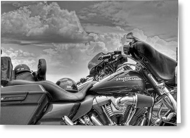 Harley Black And White Greeting Card