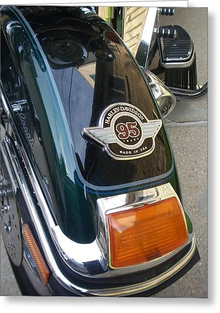 Harley Close-up Tail Light Greeting Card by Anita Burgermeister