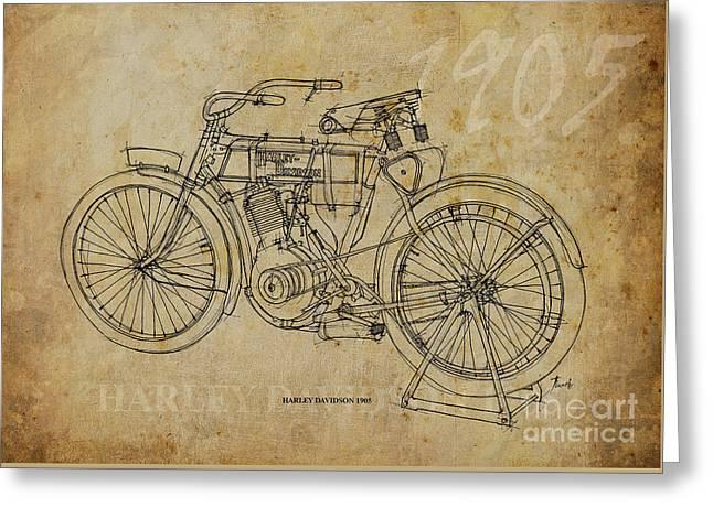 Harley Davidson 1905 Greeting Card by Pablo Franchi