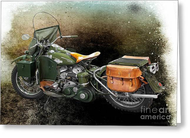 Harley Davidson 1942 Experimental Army Greeting Card by Barbara McMahon