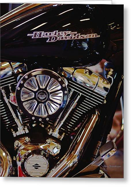Harley Davidson Abstract Greeting Card by Kae Cheatham