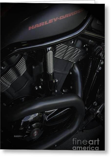 Harley Davidson Black Greeting Card by Vineesh Edakkara