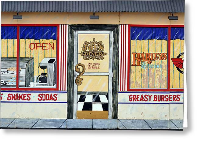 Harley Davidson Cafe Greeting Card by Fraida Gutovich