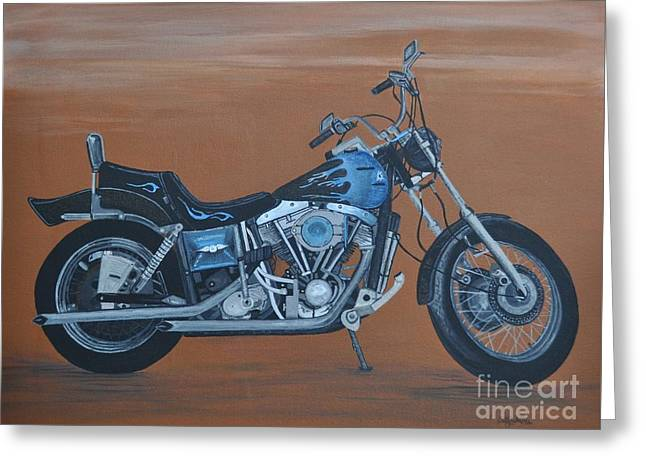Harley Davidson Dyna Greeting Card by Sally Rice