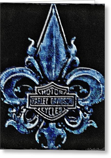 Harley Davidson Fleur De Lys Logo Greeting Card by Danielle  Parent