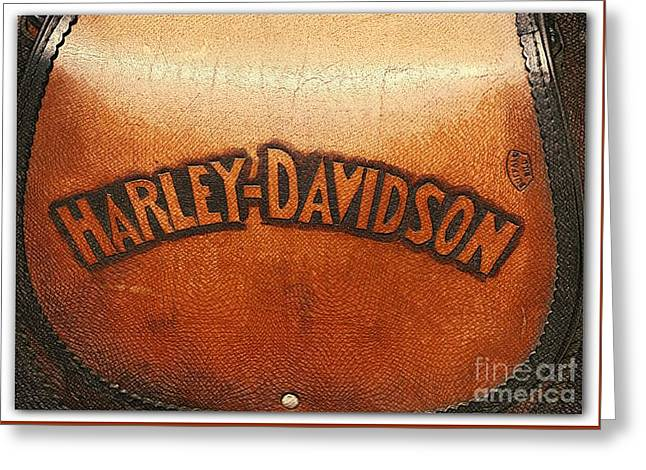 Harley Davidson Leather Tool Bag  Greeting Card by Stefano Senise