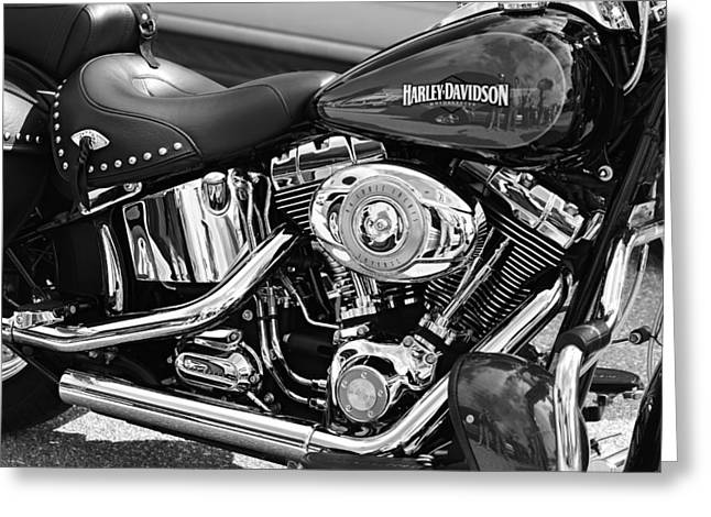 Harley Davidson Monochrome Greeting Card by Laura Fasulo