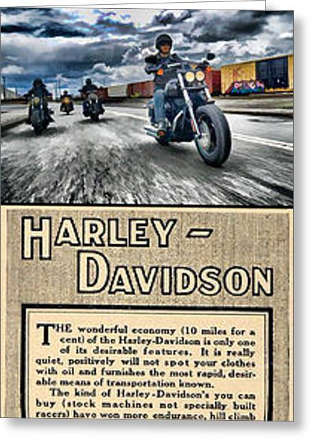 Harley-davidson Montage Greeting Card by Photographic Art by Russel Ray Photos