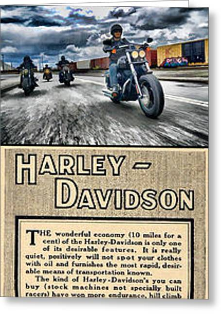 Harley-davidson Montage With Austin Map Greeting Card by Photographic Art by Russel Ray Photos