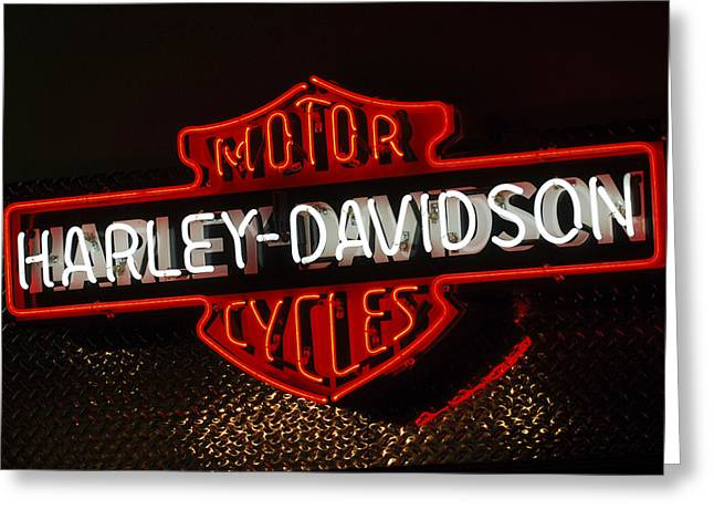 Light Greeting Cards - Harley-Davidson Motor Cycle Neon Lights 2 Greeting Card by Jill Reger