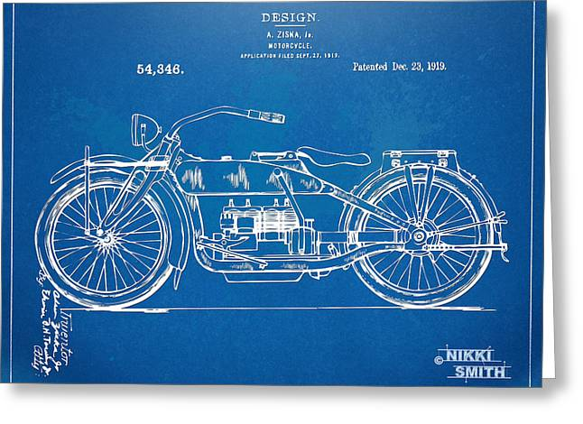 Harley-davidson Motorcycle 1919 Patent Artwork Greeting Card by Nikki Marie Smith