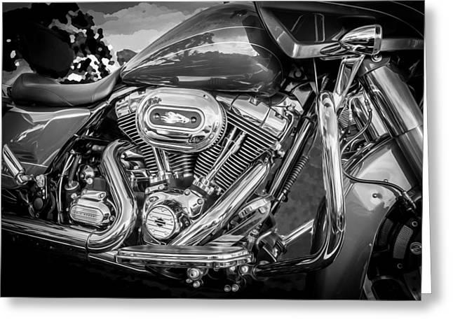 Harley Davidson Motorcycle Harley Bike Bw  Greeting Card by Rich Franco