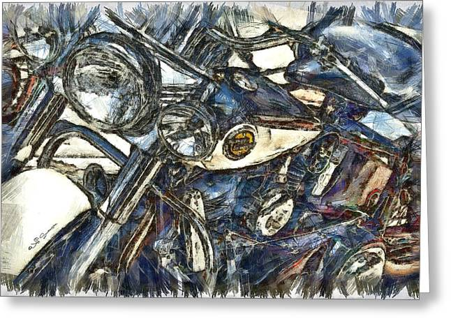 Harley Davidson Painted Greeting Card by Jeff Swanson
