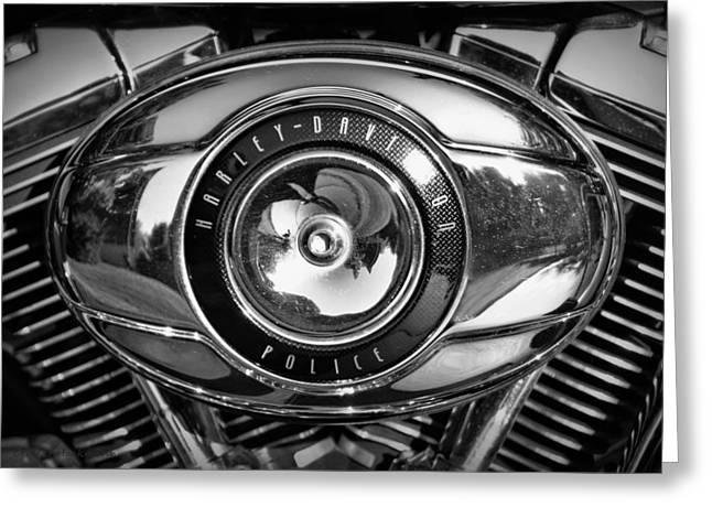 Harley-davidson Police B And W Greeting Card