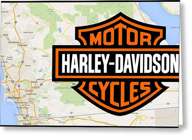 Greeting Card featuring the digital art Harley-davidson San Diego by Photographic Art by Russel Ray Photos