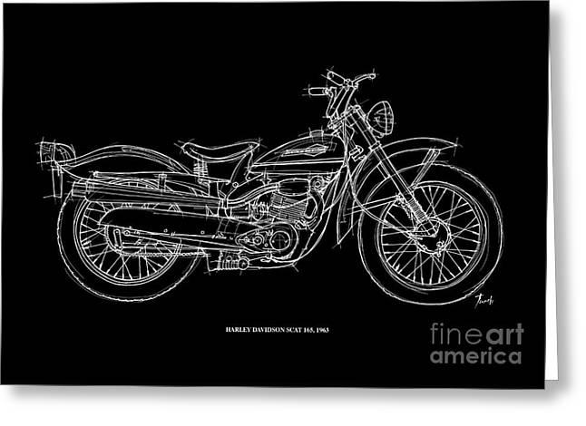 Harley Davidson Scat 165 1963 Greeting Card by Pablo Franchi