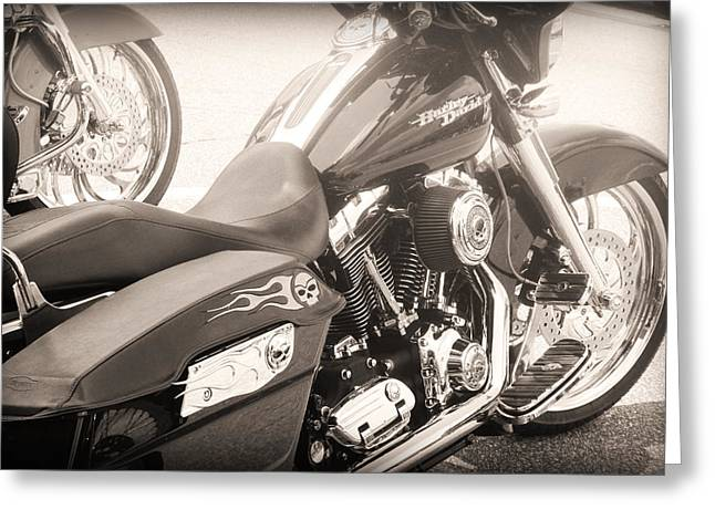 Harley Davidson With Flaming Skulls Greeting Card by Kelly Hazel