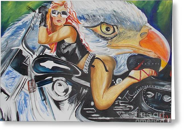 Greeting Card featuring the painting Harley Girl by PainterArtist FIN