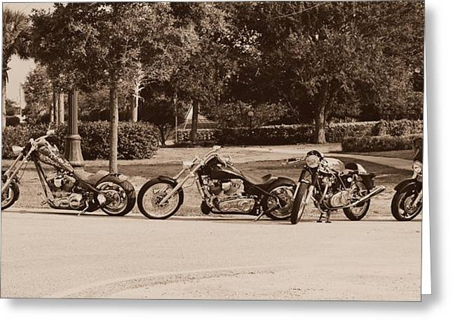 Harley Line Up Greeting Card by Laura Fasulo