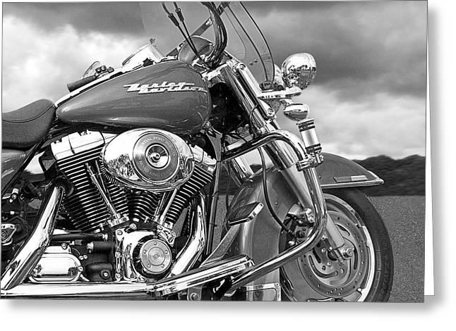 Harley Road King Custom Greeting Card by Gill Billington